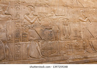 Bas relief depicting Osiris and the Nile flooding in the temple of Luxor
