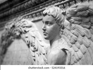 Bas relief from old building depicting angel.