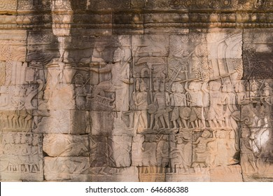 bas relief the story of Ramayanaon on  Prasat Bayon wall, Siem Reap, Cambodia.