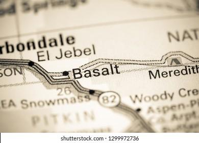 Basalt. Colorado. USA on a map