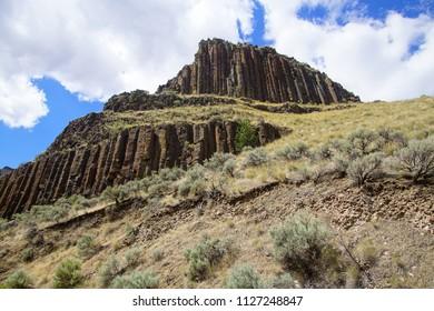 Basalt columnar cliffs of Picture Gorge near John Day in eastern Oregon