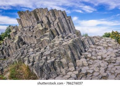 Basalt columnar separation called Panska Skala in Kamenicky Senov small city, Czech Republic