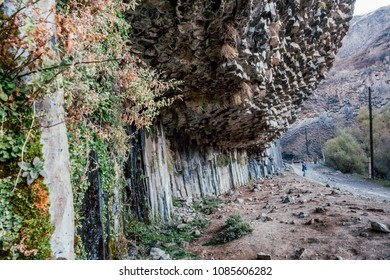 Basalt columns in Garni Gorge. Armenia.