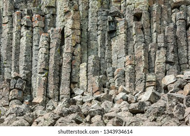 Basalt columns of Sheepeater Cliffs in Yellowstone national park, USA