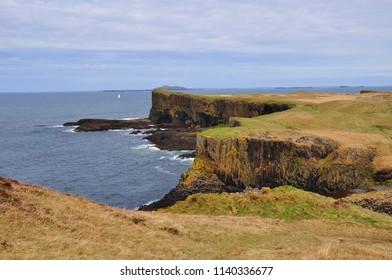 Basalt columns of Staffa island. Inner Hebrides, Scotland
