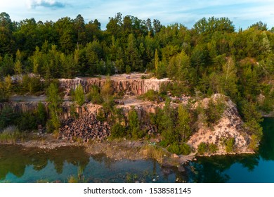 Basalt pillars, Ukraine: September 7, 2019 picturesque and magical basalt pillars of Rivne region.