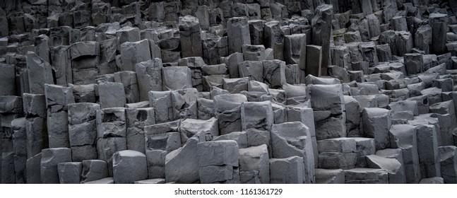 Basalt rock at Black Sand Beach, Iceland.