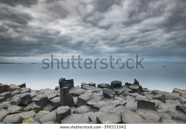 Basalt rock formations of Giant's Causeway, County Antrim, Northern Ireland