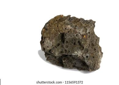 Basalt rock isolate on black background