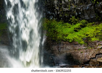 Basalt rock wall, partially covered in lush green rainforest vegetation, behind a curtain of water falling from Chania Waterfall, Aberdares, Kenya, Africa. Looks like its raining. Copy space.
