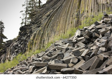 Basaltic columns in Devil's Postpile National Monument, California.