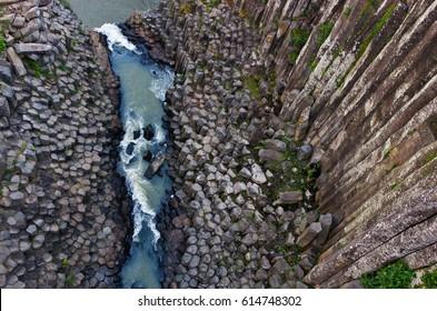 Basaltic Prisms of Santa Maria Regla. Tall columns of basalt rock in canyon, Huasca de Ocampo, Mexico