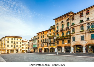BASANO, ITALY - AUGUST 3: empty market place on August 3,2009 in Basano, Italy. Basano ist the place in the world for Grappa and offered in a lot of shops to tourists.
