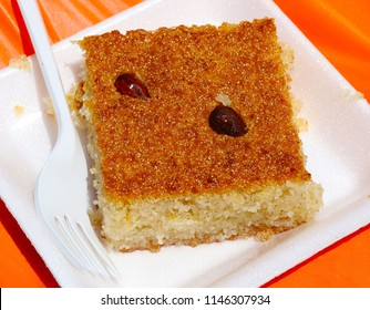 Basbousa, a Palestinian dessert made with semolina and almonds