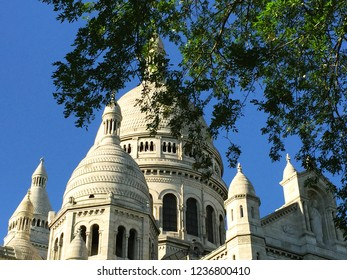 The Bascilica of Montmatre, Paris, is seen against a clear blue sky. The branches and leaves of a tree frame the view.