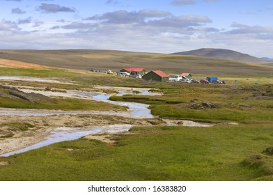 The base camp near the geothermal hot spring area in the remote highlands of the Kjolur region in Iceland.
