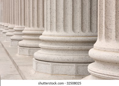 Base of columns in front of NYC building