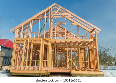 base, frame of a wooden house, racks and partitions