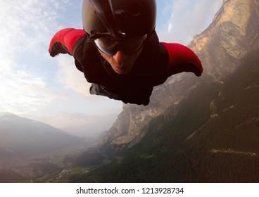 BASE Jumper Self Portrait. Wingsuit flight