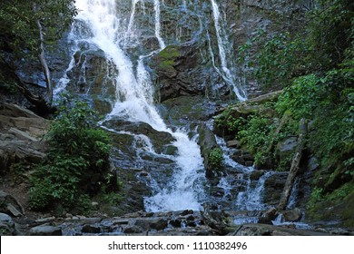 Base of Mingo Falls in North Carolina in the midst of the Great Smoky Mountains National Park
