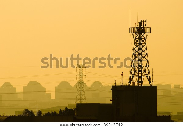 base station of cell phone under sunset, wireless communication