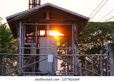 Base Transceiver Station with sunset.