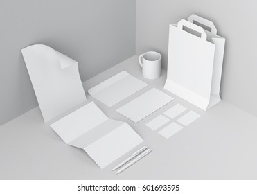 Base white stationery mock-up template for branding identity in grey corner for graphic designers presentations and portfolios. 3D rendering.