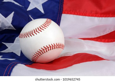 Baseball and the American flag background sports concept