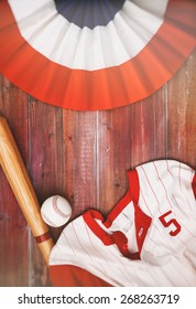 Baseball Background With Team Jersey, Ball And Bat