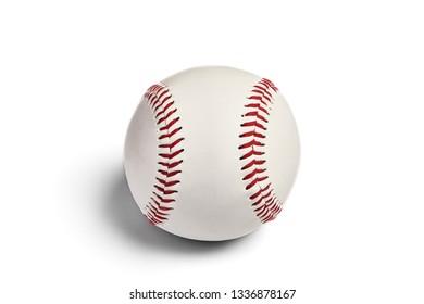 Baseball ball closeup. Isolated on white background. Nobody