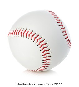 Baseball ball close-up on a white background.
