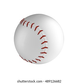 Baseball ball isolated on the white background without shadow. Detailsed sport equipment with texture.
