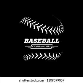 baseball ball on black background.