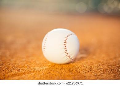 Baseball ball on pitchers mound