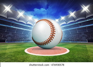 baseball ball with stadium in motion blur, sport theme 3D illustration
