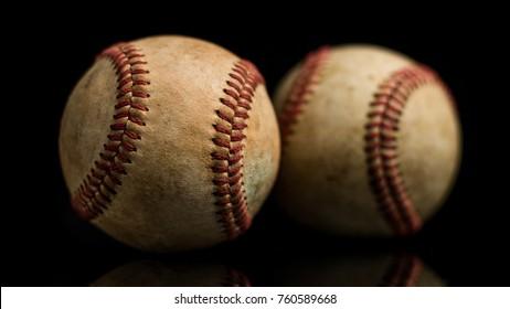 Baseball Balls On Black Background