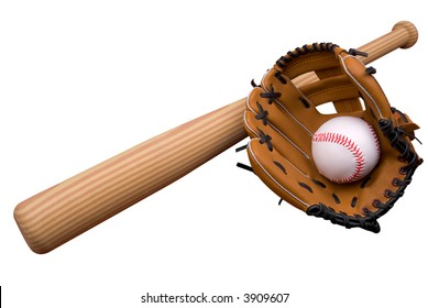 Baseball bat, ball and glove isolated over white