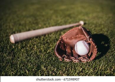 Baseball bat, ball and glove is lying on green grass