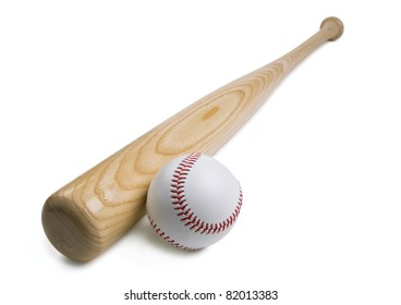 Baseball and baseball bat isolated on white background with clipping path.