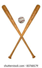 Baseball bats and ball isolated over white background