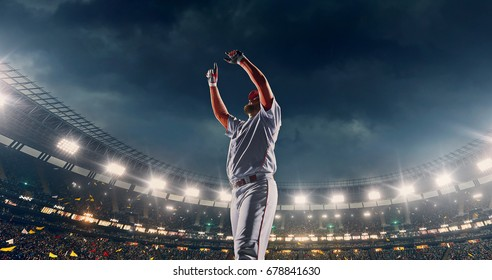 Baseball batter is celebrating a win on a professional sports arena with bleaches full of people. He is wearing unbranded sport cloths. Arena and people on it are made in 3D and animated.