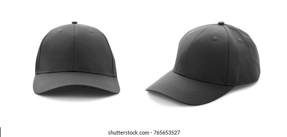 Baseball cap black with shadow templates, front views isolated on white background. Mock up. Set