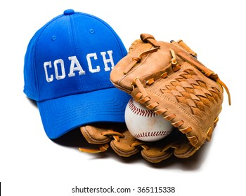 Baseball cap and baseball glove mitt isolated on white background