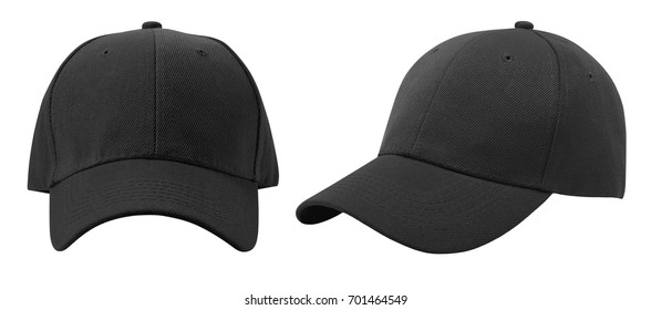 Baseball cap isolated on white background. Front and side view.