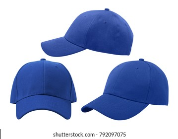 Baseball cap isolated on white background. Front, side views.