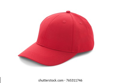 Baseball cap red with shadow templates, front views isolated on white background. Mock up.
