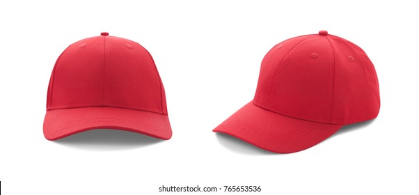 Baseball cap red with shadow templates, front views isolated on white background. Mock up. set