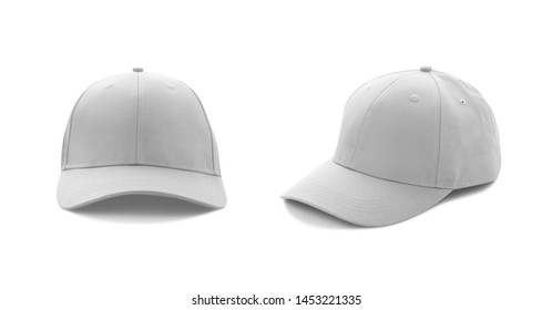 Baseball cap red templates, front views isolated on white background. Mock up.