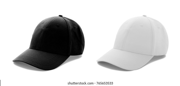 Baseball cap white and black templates, front views isolated on white background. Mock up.