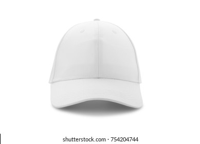 Baseball cap white templates, front views isolated on white background. Mock up.